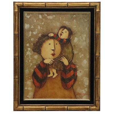 J. Roybal Oil Painting of Mother and Child, Late 20th Century
