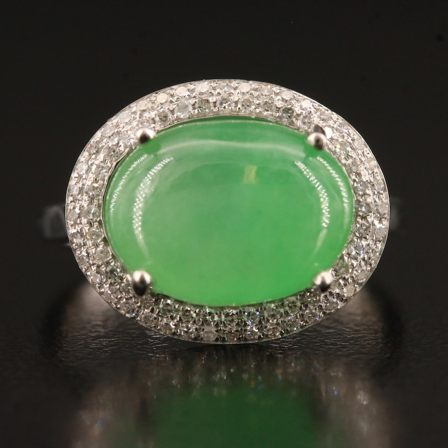 14K 6.60 CT Untreated Jadeite and Diamond East West Ring with GIA Report