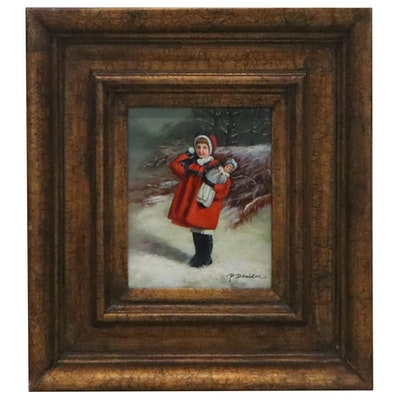 Oil Painting of Girl in Red Winter Coat, 20th Century
