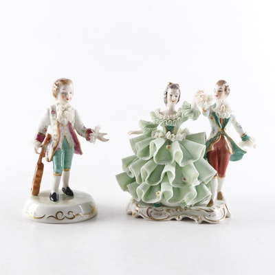 "Irish Dresden ""Antonio"" and ""Minuet"" Porcelain Figurines"