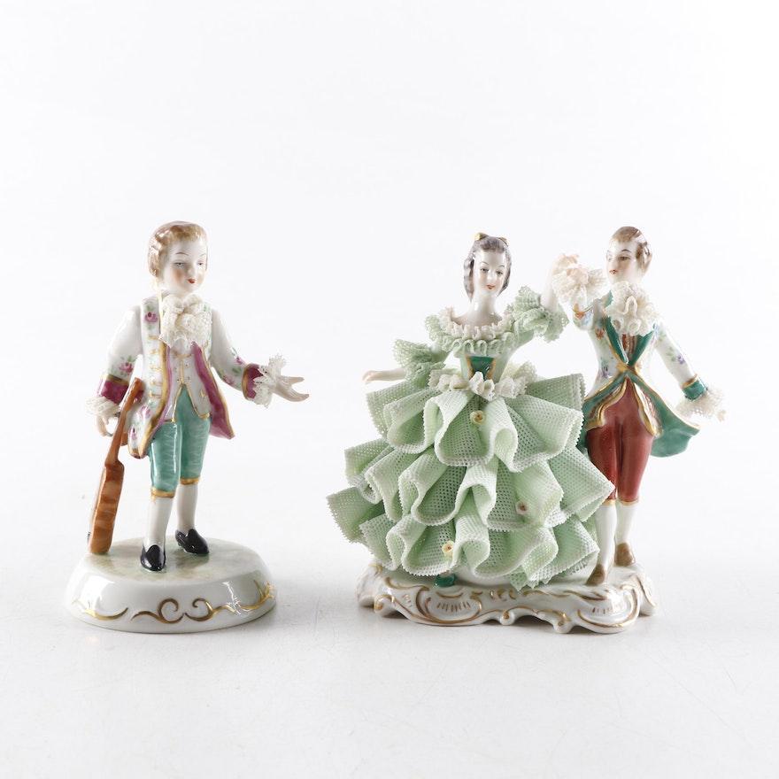 "Irish Dresden ""Antonio"" and ""Minuet"" Porcelain Figurines"