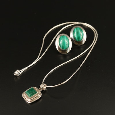Selection of Sterling Malachite Jewelry Including Necklace and Earrings