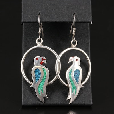 Mexican Sterling Inlay Bird Dangle Earrings