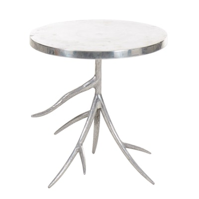 Metal Antler Base Side Table