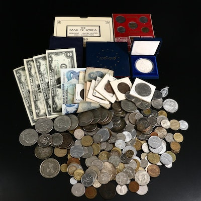 Assortment of U.S. and Foreign Coins and Currency, Including Silver
