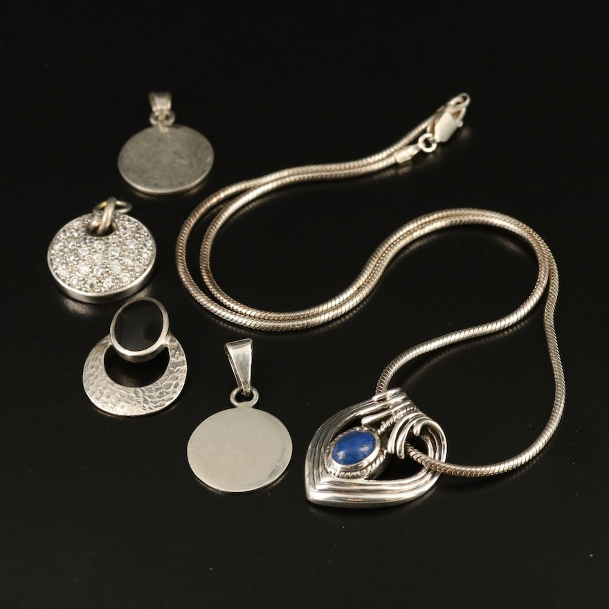 Sterling Necklace and Pendants Including Lapis Lazuli, Cubic Zirconia and Glass