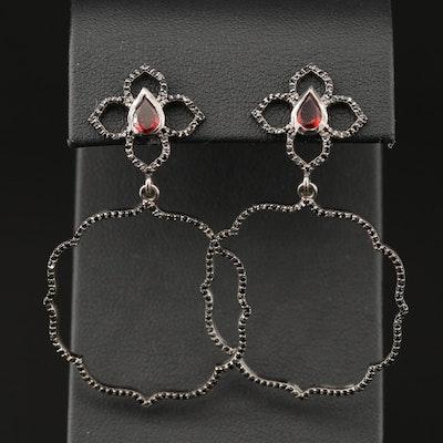 Sterling Silver Garnet and Black Onyx Lotus Motif Dangle Earrings