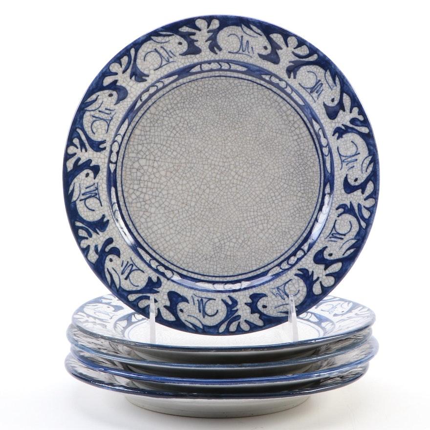 "Dedham Pottery ""Rabbit"" Stoneware Salad Plates, Early/Mid 20th Century"