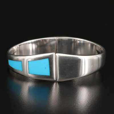 Mexican Sterling Faux Turquoise Inlay Hinged Bangle