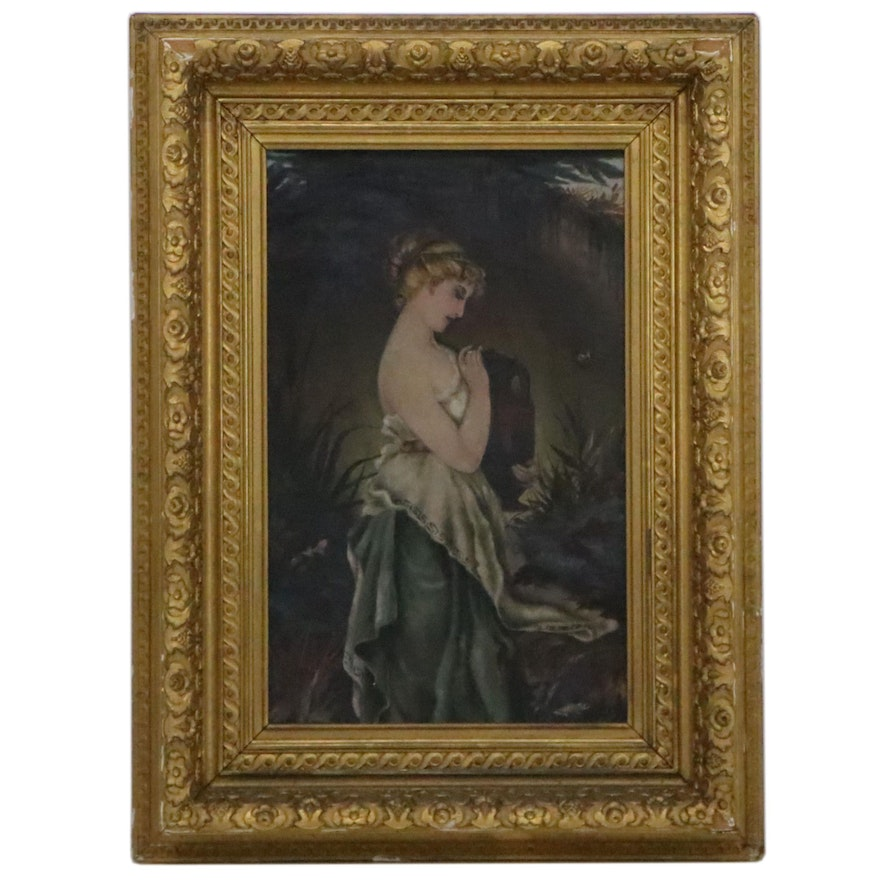 """Copy Oil Painting after Robert Julius Beyschlag """"Psyche,"""" Late 19th Century"""