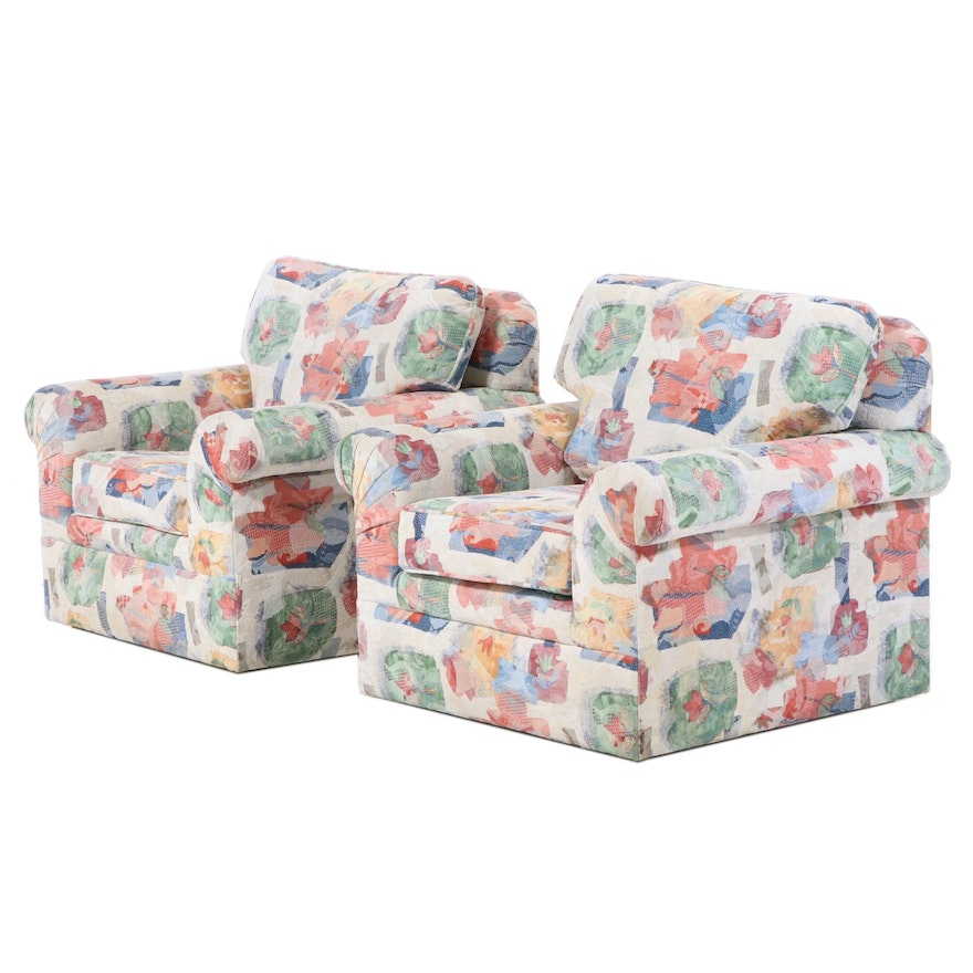 Pair of Contemporary Upholstered Roll-Arm Club Chairs