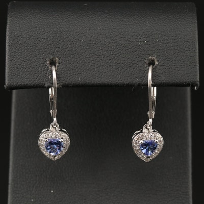Sterling Tanzanite and White Topaz Heart Dangle Earrings