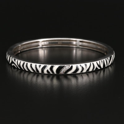 Sterling Zebra Print Bangle with Cubic Zirconia Accents