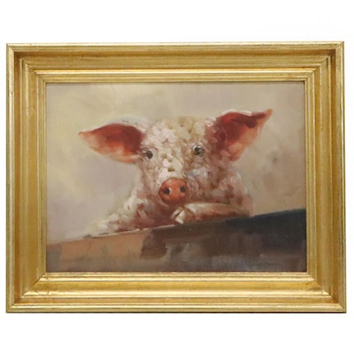 Oil Painting of Pig, 21st Century