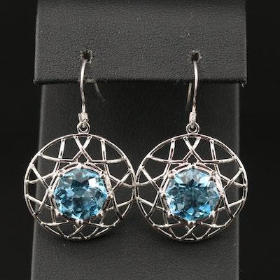 Sterling Topaz Wirework Dangle Earrings