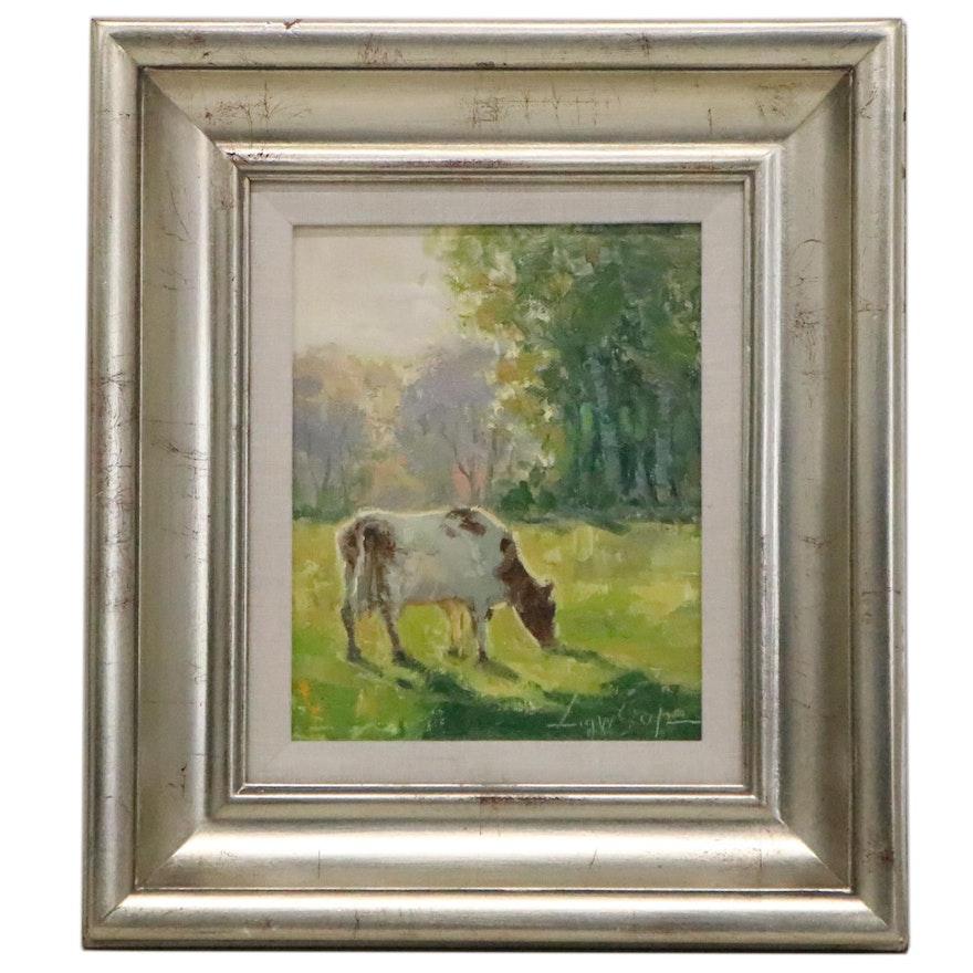 Impasto Oil Painting of Cow, 21st Century