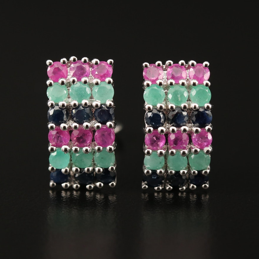 Sterling Sapphire, Ruby and Emerald Drop Earrings