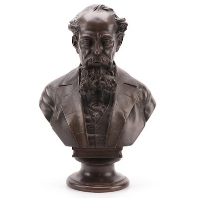 Patinated Metal Bust of Charles Dickens