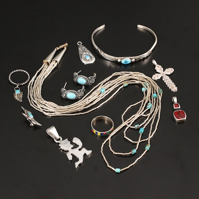 Selection of Sterling Jewelry Including Liquid Silver Necklace and Feather Ring
