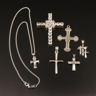 Sterling Silver Multi-Gemstone Cross Pendants and Necklace