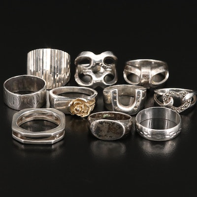 Assortment of Sterling Silver Rings Featuring Marcasite