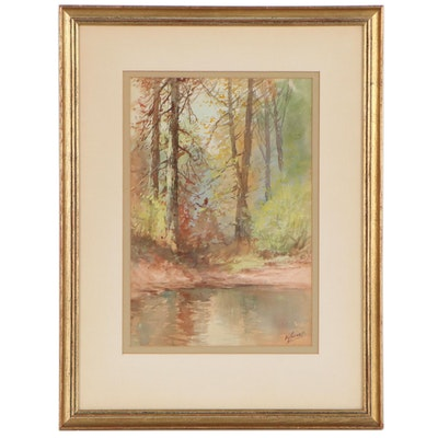 Victor Casnelli Forest Landscape Watercolor, Early 20th Century