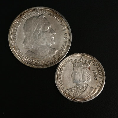 1893 Isabella Silver Quarter and 1893 Columbian Exposition Silver Half Dollar