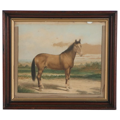 Watercolor Painting of Seal Brown Horse, Late 19th Century