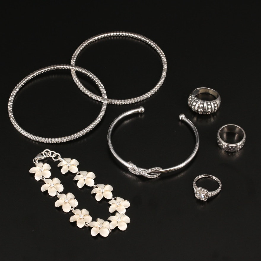 Sterling Bracelet and Ring Assortment