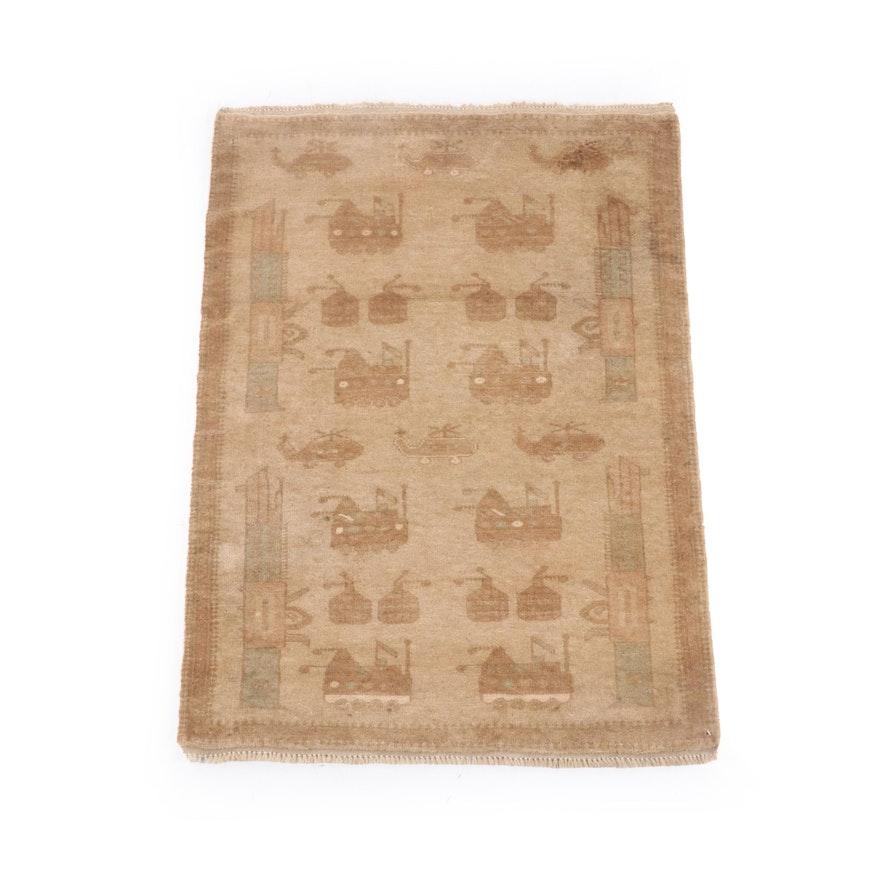 2'11 x 4'6 Hand-Knotted Afghani Wool War Rug