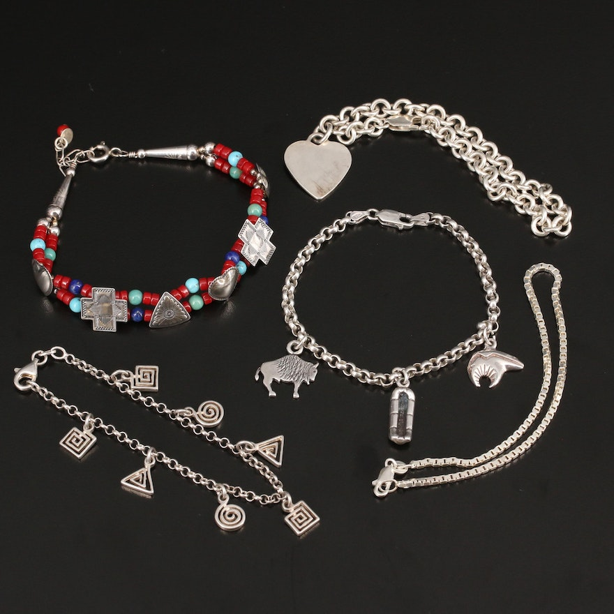 Selection of Sterling Bracelets Featuring Quoc Turquoise, Coral and Lapis Lazuli
