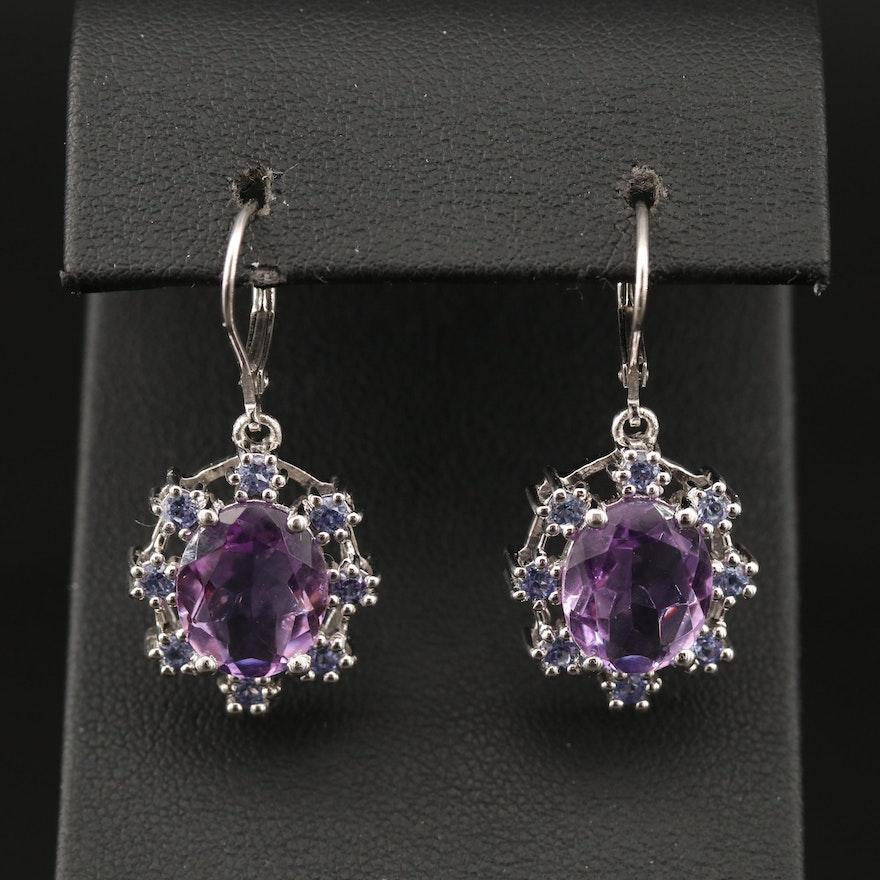 Sterling Amethyst and Tanzanite Dangle Earrings