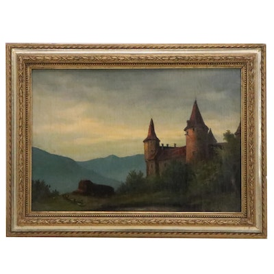 Swiss Landscape Oil Painting, Late 19th to Early 20th Century