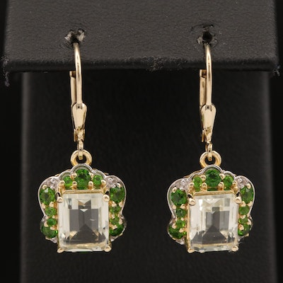 Sterling Silver Dangle Earrings Featuring Prasiolite, Chrome Diopside and Spinel
