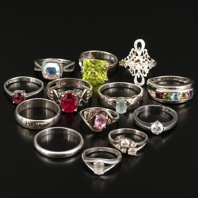 Sterling Silver Rings with Ruby, Quartz and Topaz