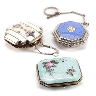 """R&G Co., """"La Mode"""" and Other Enamel Guilloche Compacts, Circa 1930s"""