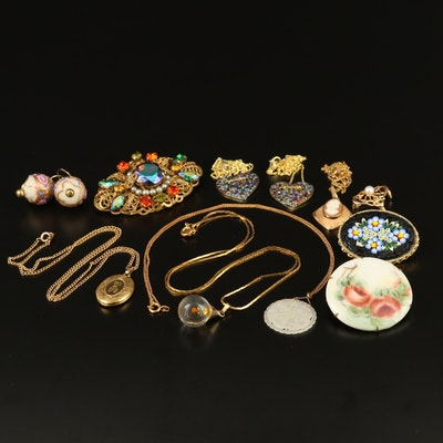 Selection of Jewelry Including Wedding Cake Glass Beads and Micro Mosaic