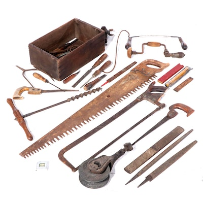 Saws, Chisels, Drills, and Other Hand Tools with Wooden Crate
