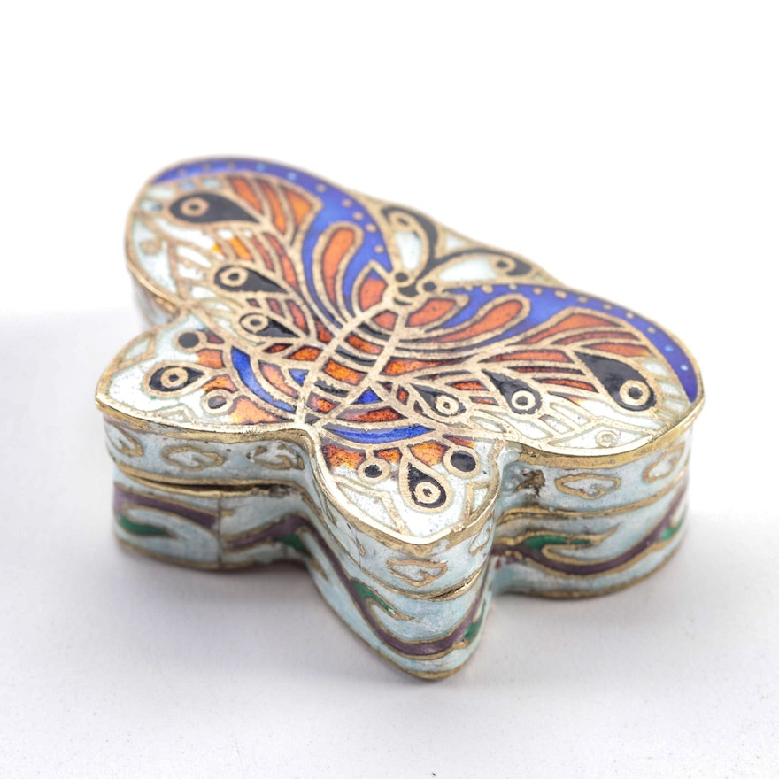 Chinese Cloisonne Enamel Butterfly Decorative Box