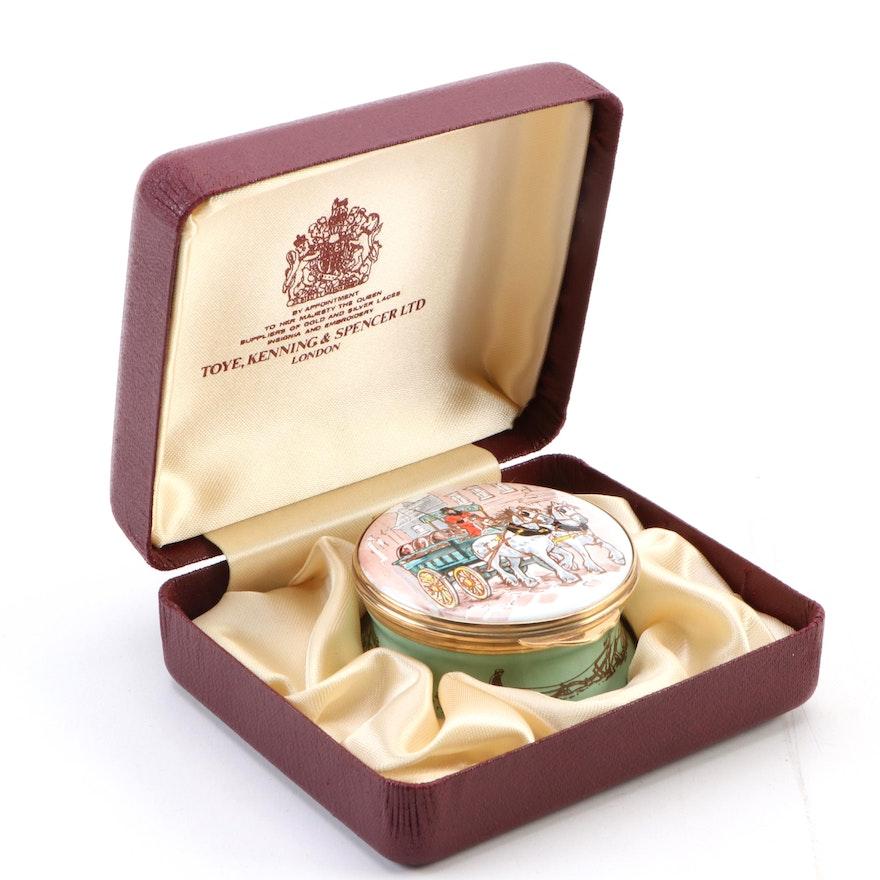 Toyne, Kenning & Spencer Ltd Enamel and Brass Trinket Box, Late 20th Century
