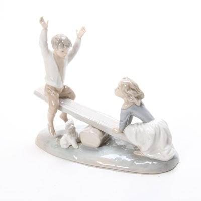 "Lladró ""Seesaw"" Porcelain Figurine Designed by Fulgencio García"