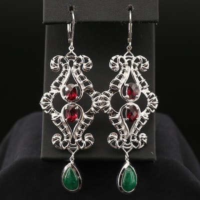 Sterling Silver Beryl and Garnet Dangle Earrings