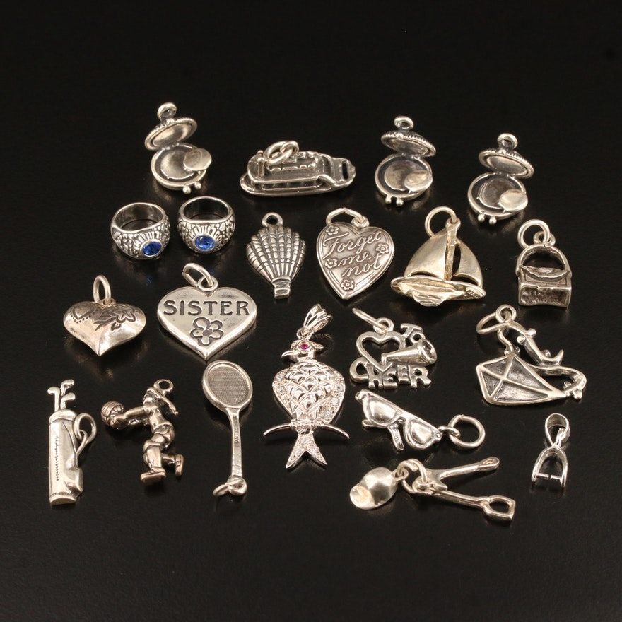 Sterling Silver Charms Featuring Vintage Puff Hearts and Rhinestones