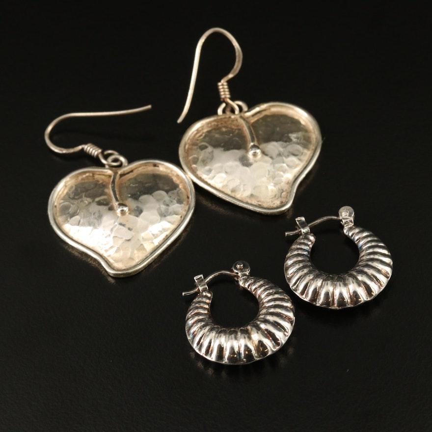 Sterling Silver Foliate Dangle Earrings with Fluted Hoop Earrings