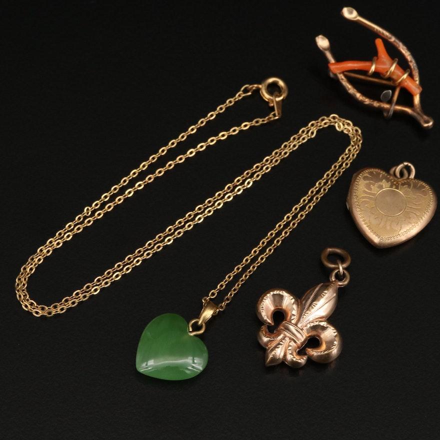 Vintage Jewelry Featuring Heart Necklace and Fleur de lis, Heart Locket Pendant