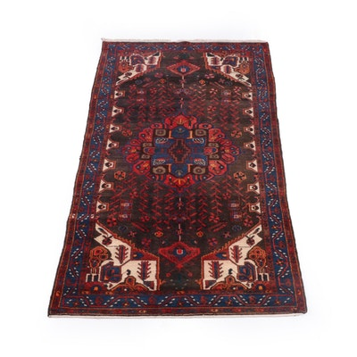 4'9 x 9'7 Hand-Knotted Persian Senneh Wool Rug