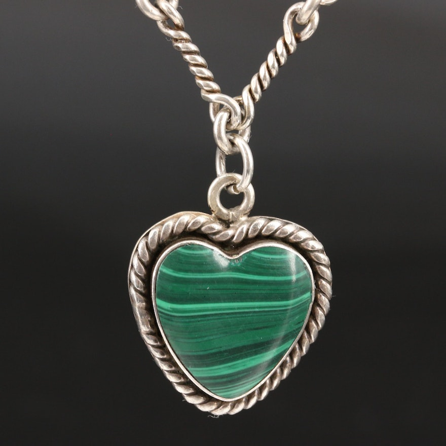 Mexican Sterling Silver Malachite Heart Pendant Necklace