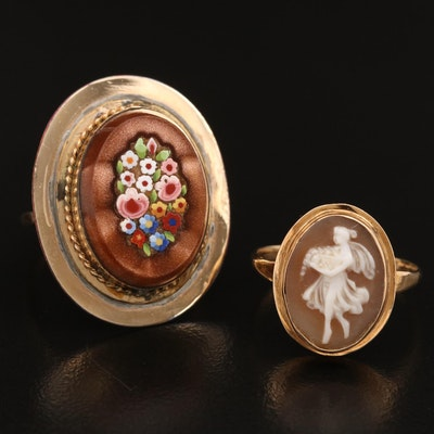 Vintage 14K Shell Cameo Ring and Millefiori Glass Ring with 14K Shank