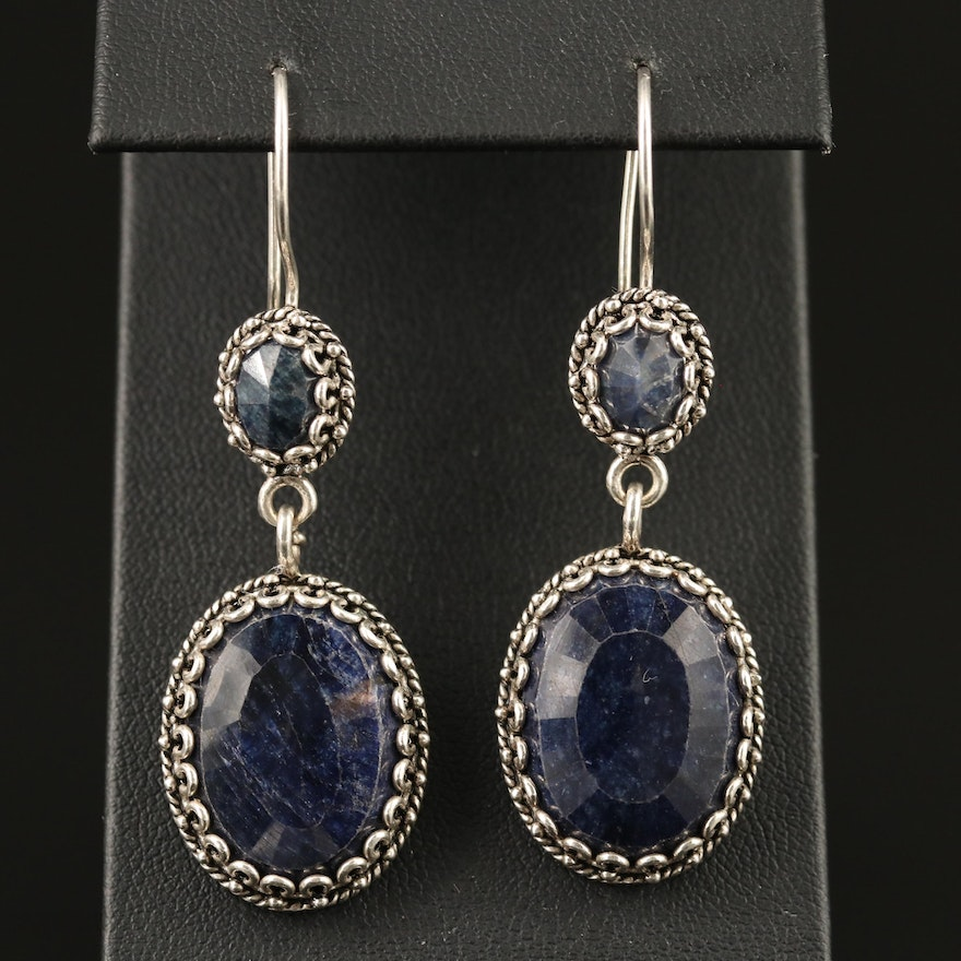 Sterling Silver Corundum Dangle Earrings