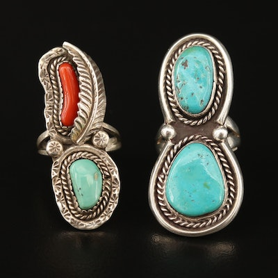 Southwestern Style Sterling Silver Turquoise and Coral Rings